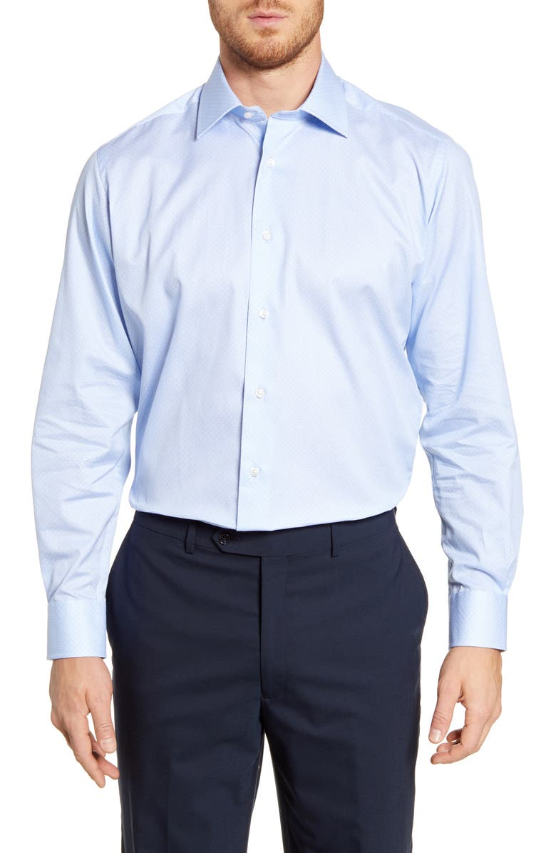 DAVID DONAHUE Regular Fit Floral Dress Shirt, Main, color, BLUE