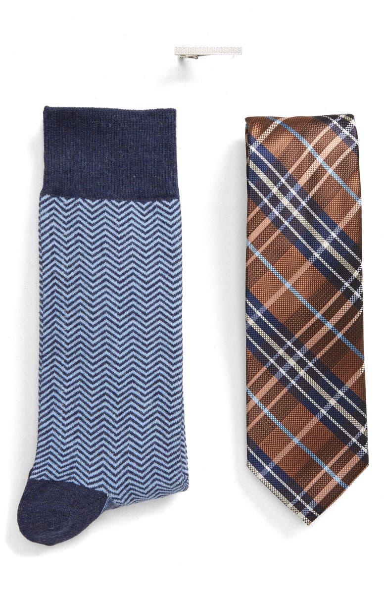 BESPOKE Plaid Tie, Tie Clip & Socks Gift Set, Main, color, BROWN