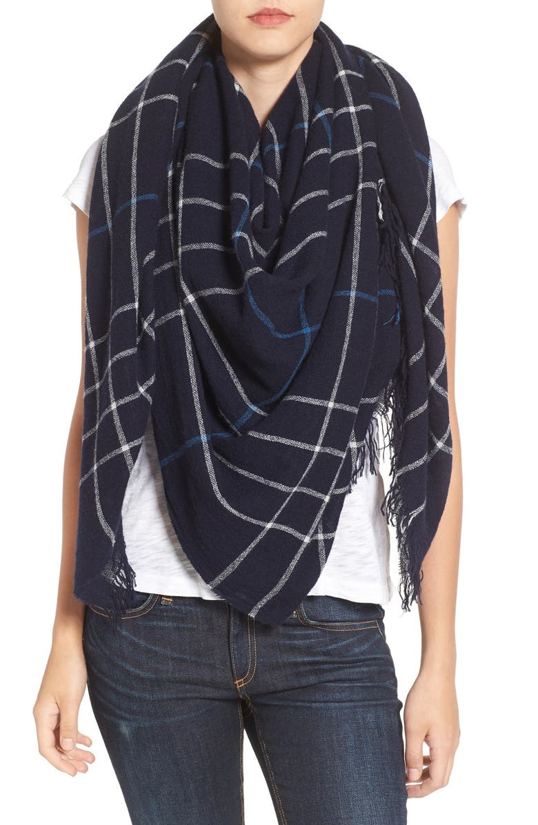RAG & BONE Windowpane Check Wool Scarf, Main, color, 400
