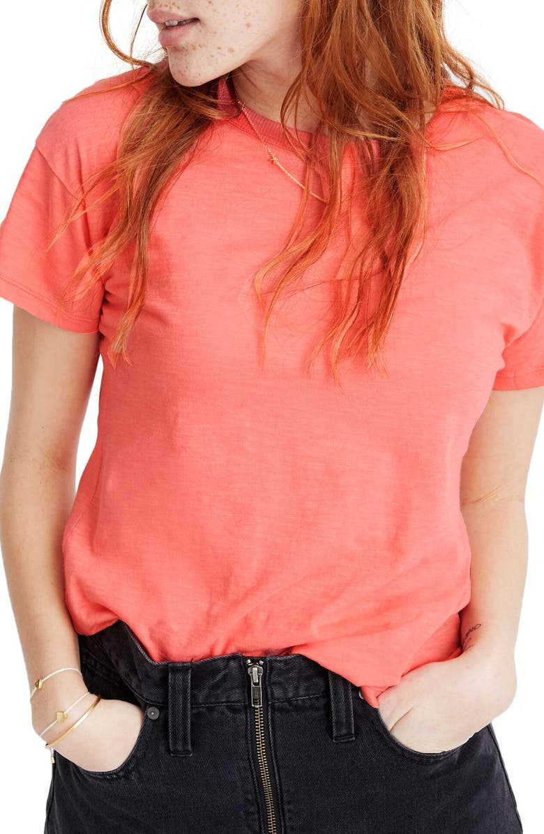 MADEWELL Whisper Cotton Ribbed Crewneck T-Shirt, Main, color, ELECTRIC PINK
