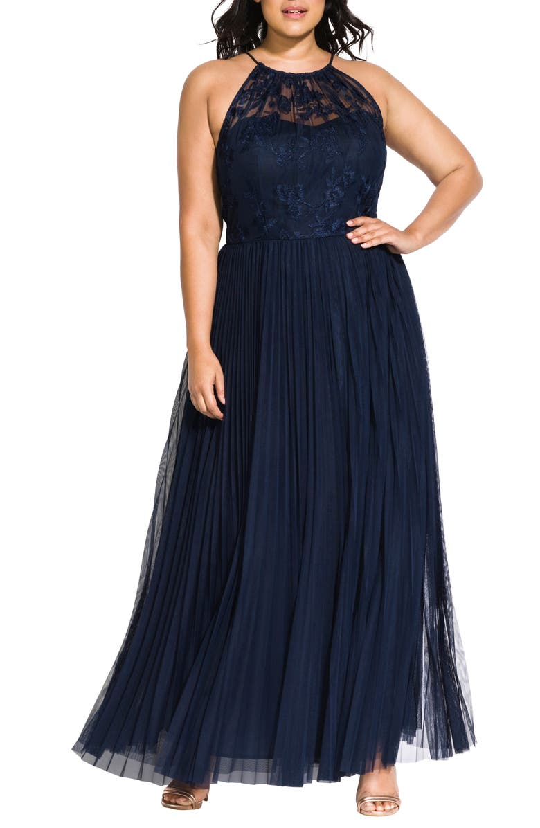 CITY CHIC Angelic Embroidered Tulle Gown, Main, color, 406
