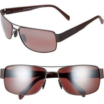 Maui Jim Ohia Oversize Polarized Sunglasses - Satin Dark Gunmetal/ Burgundy