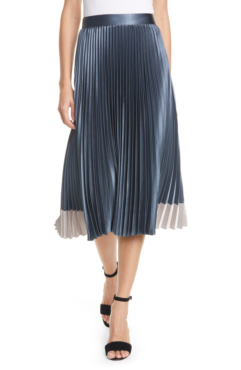 TED BAKER LONDON Glaycie Colorbock Detail Pleated Skirt, Main, color, MID BLUE