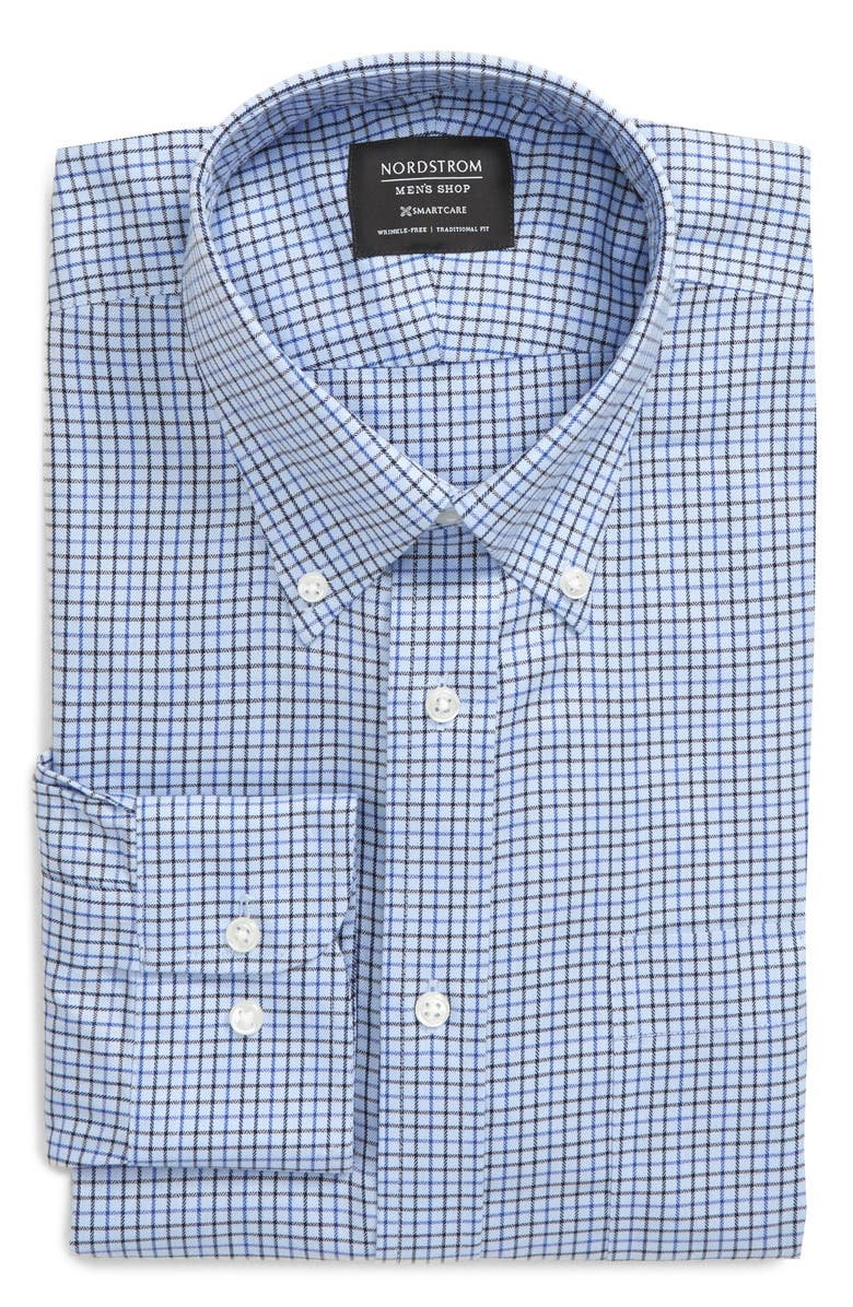 NORDSTROM MEN'S SHOP Smartcare<sup>™</sup> Traditional Fit Check Dress Shirt, Main, color, NAVY EVENING