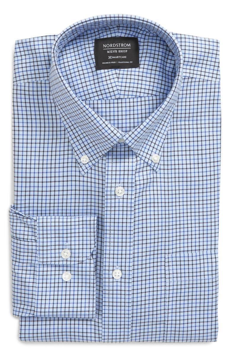 NORDSTROM MEN'S SHOP Smartcare<sup>™</sup> Traditional Fit Check Dress Shirt, Main, color, NAVY EVENING