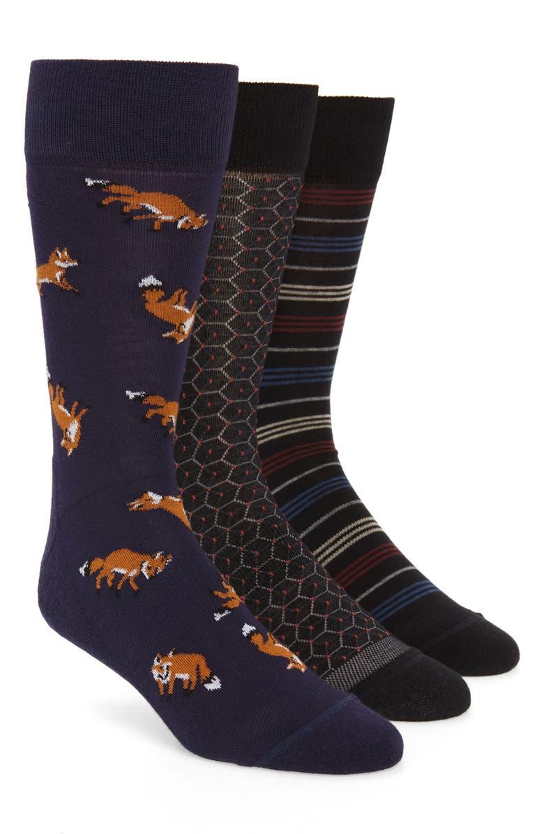 NORDSTROM MEN'S SHOP Fox Stripe 3-Pack Socks, Main, color, BLACK/ NAVY