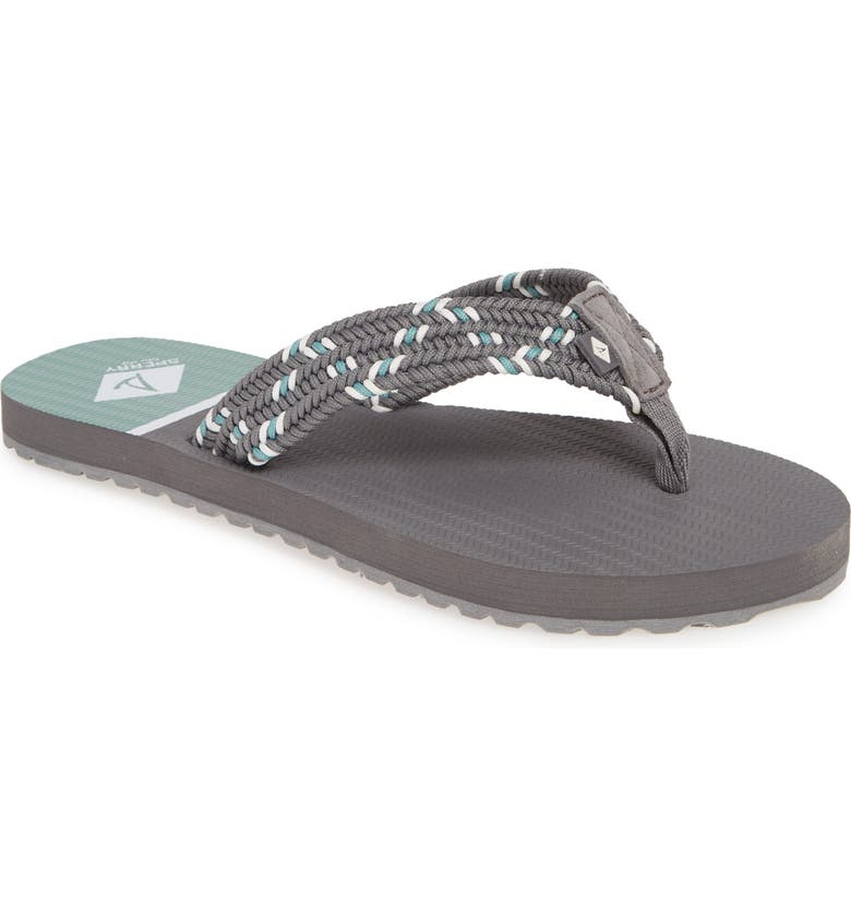 SPERRY Wharf Woven Flip-Flop, Main, color, GREY/ MINT FABRIC