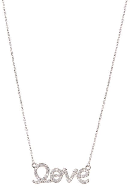 Image of ADORNIA Sterling Silver Swarovski Crystal Accented Cursive Love Pendant Necklace