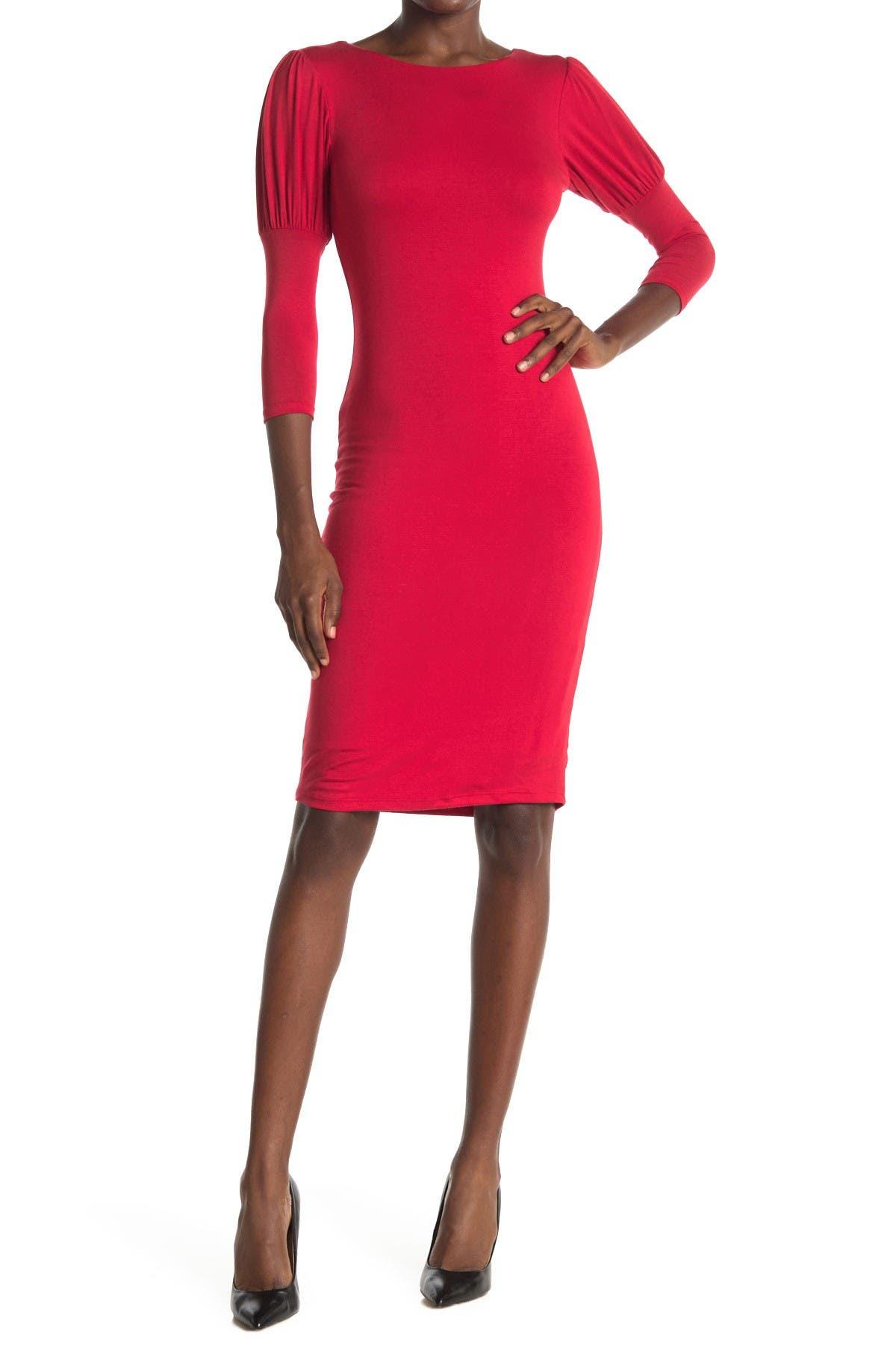 Image of Velvet Torch Puff Sleeve Round Neck Dress