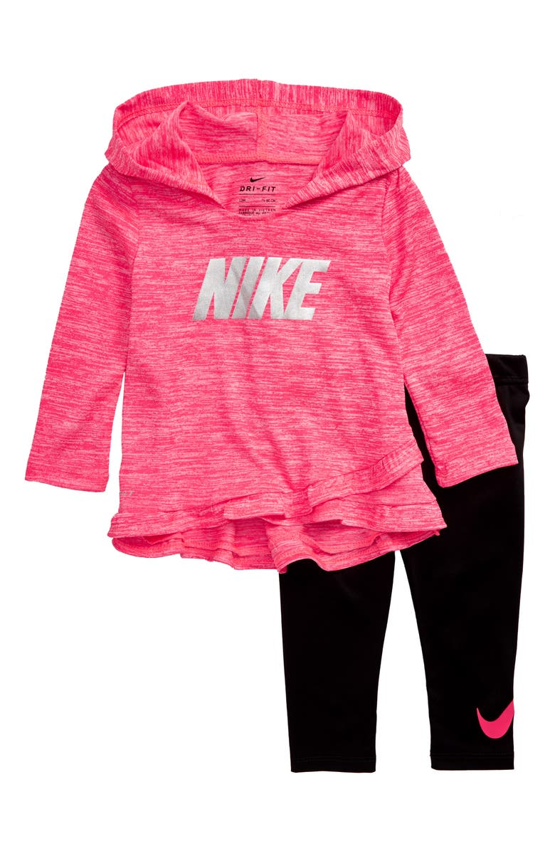 NIKE Hooded Top & Leggings Set, Main, color, BLACK