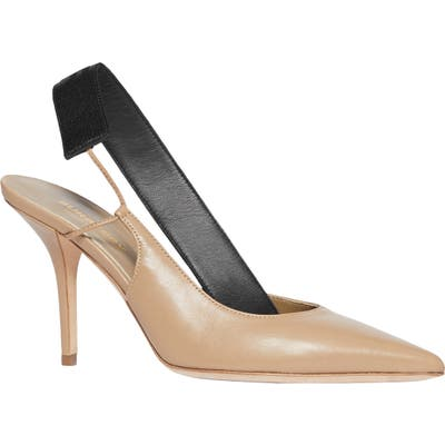 Burberry Maria Logo Slingback Pointy Toe Pump - Brown