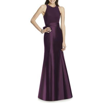 Alfred Sung Mikado Jersey Bodice Trumpet Gown, Purple