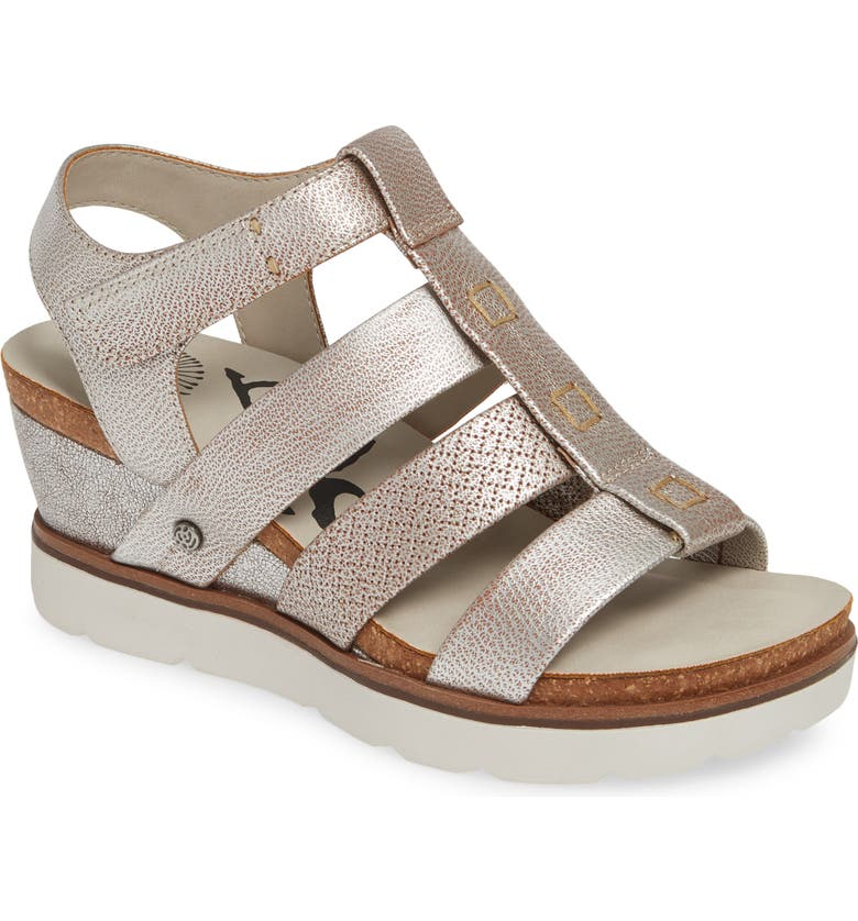 OTBT New Moon Wedge Sandal, Main, color, SILVER LEATHER