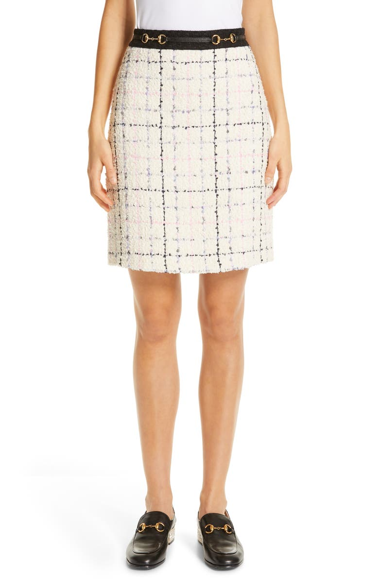 GUCCI Checked Tweed A-Line Skirt, Main, color, IVORY/ PINK/ LIGHT BLUE