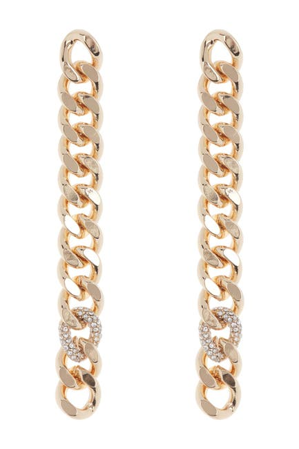 Image of Rebecca Minkoff Gold Plated Brass Pave Crystal Curb Link Drop Earrings