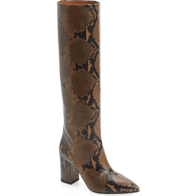 Paris Texas Python Embossed Knee High Boots - Brown