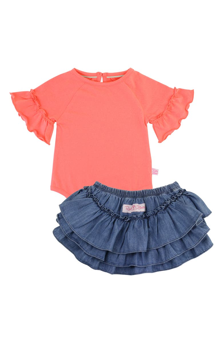 RUFFLEBUTTS Coral Bodysuit & Skirted Bloomers Set, Main, color, CORAL