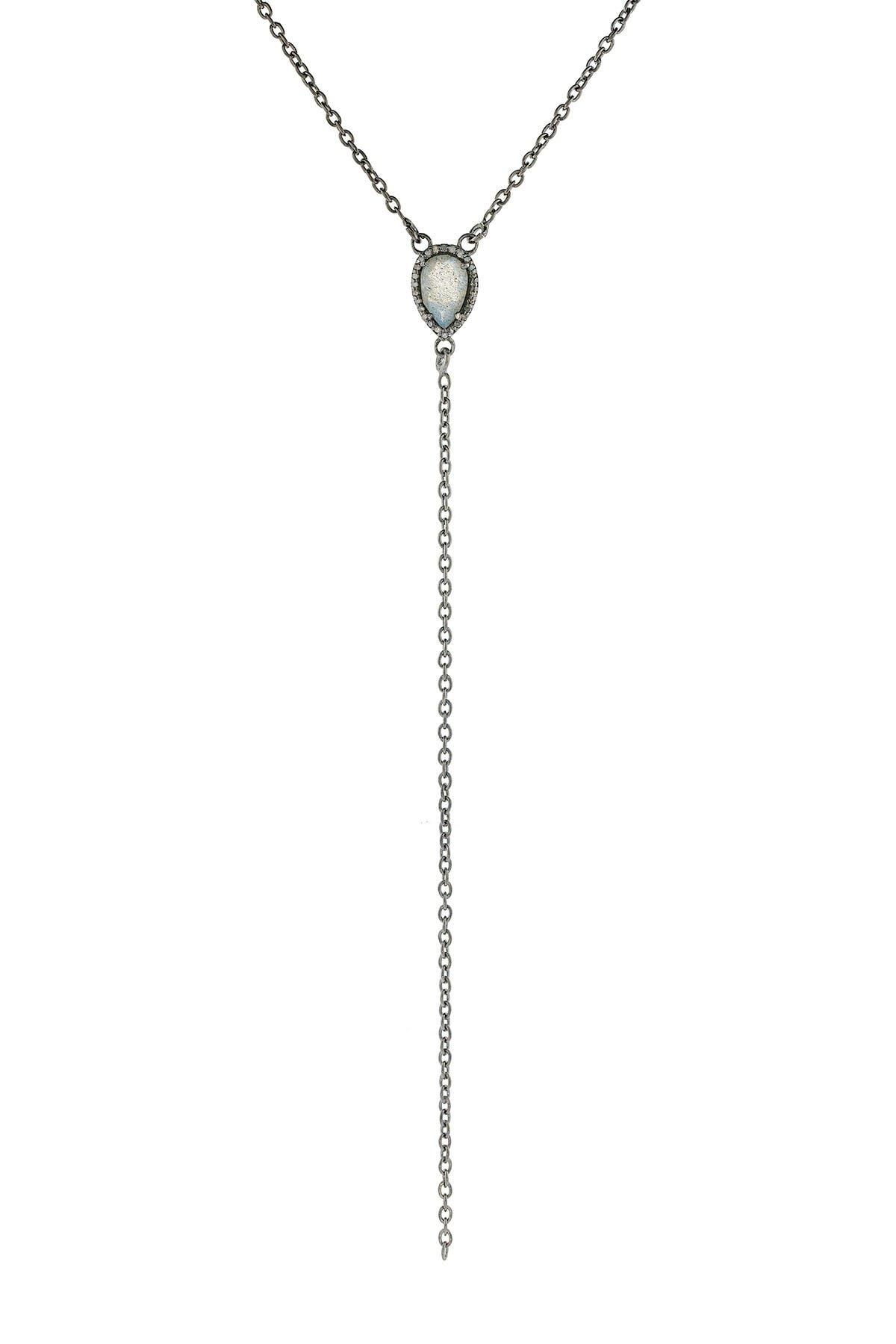 Image of ADORNIA Fine Sterling Silver Labradorite & Diamond Halo Y-Necklace - 0.20 ctw