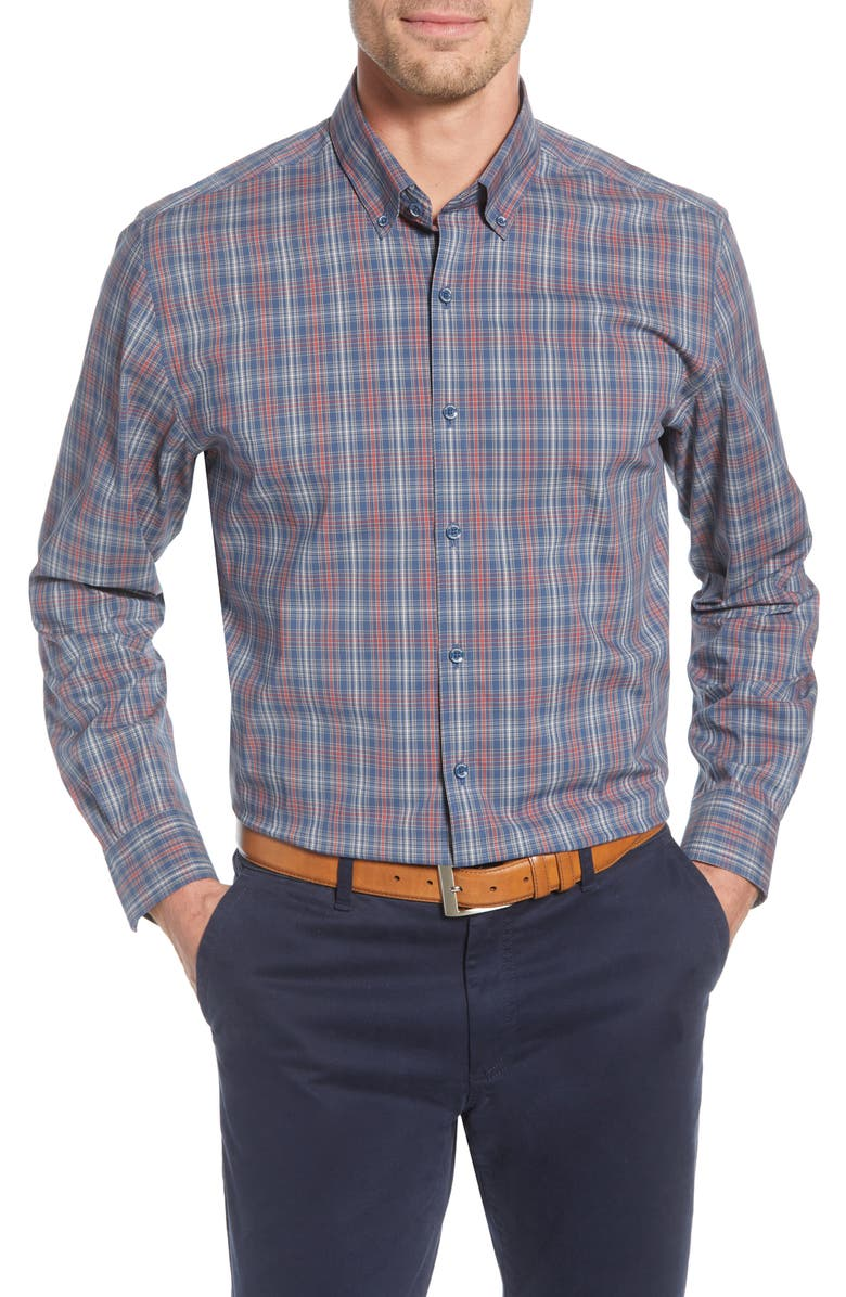 CUTTER & BUCK Soar Classic Fit Plaid Performance Button-Down Shirt, Main, color, 304