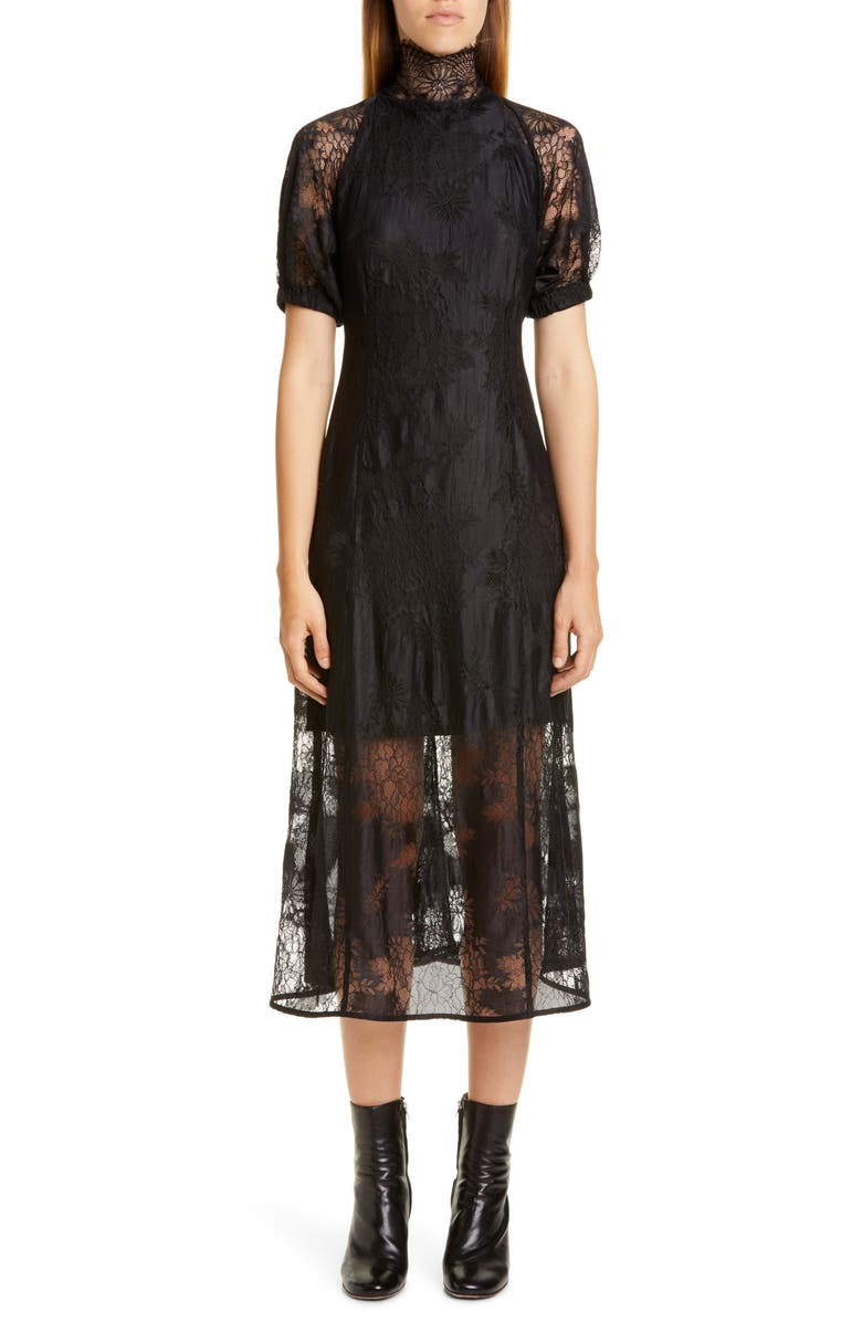 BEAUFILLE Levine Floral Lace Midi Dress, Main, color, BLACK