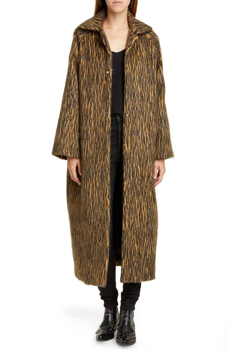 ROSEANNA Long Animal Print Coat, Main, color, FAUVE