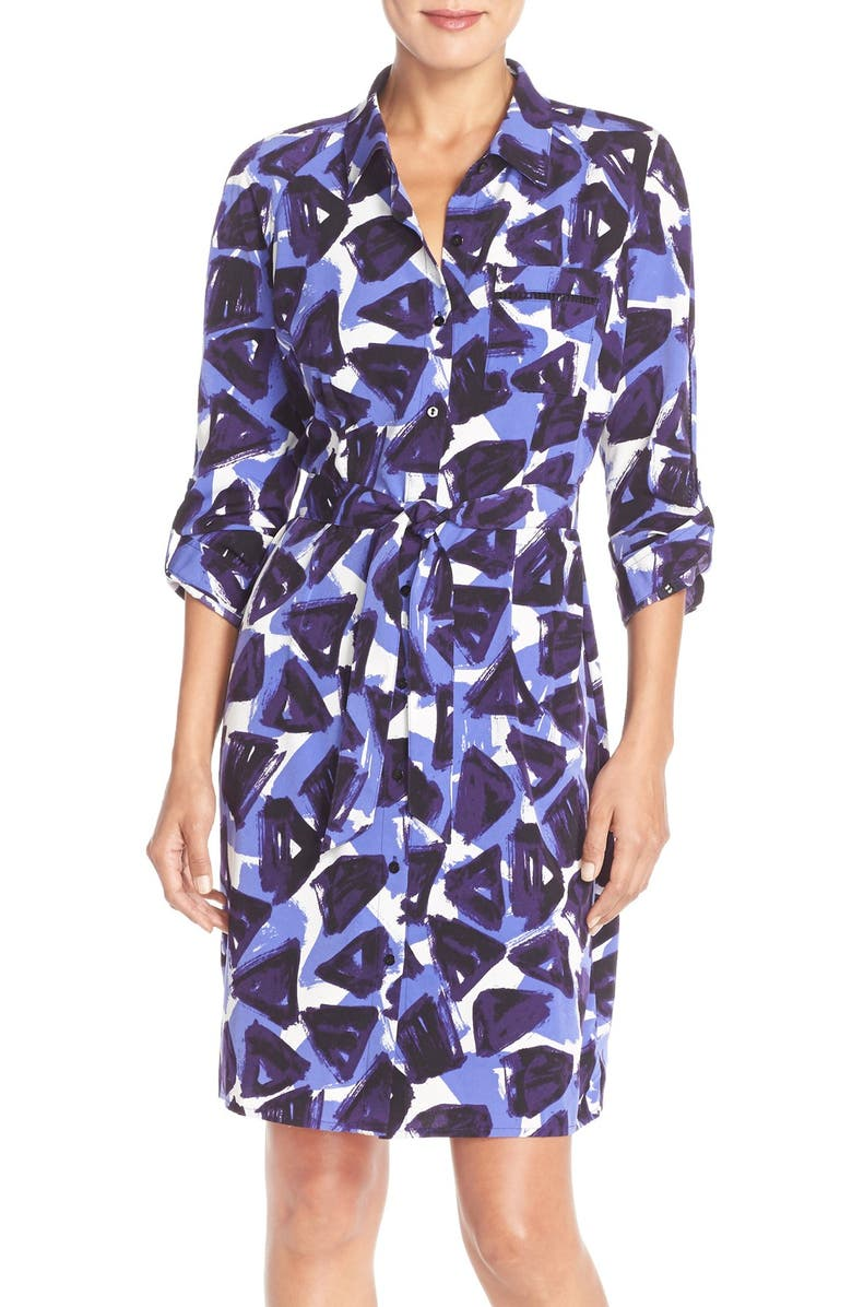 NYDJ 'Kelsie' Floral Print Shirtdress with Built-In Shapewear, Main, color, 526