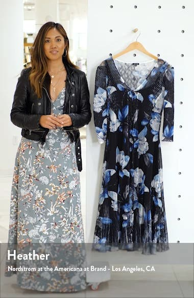 Floral Print Center Front Lace Dress, sales video thumbnail