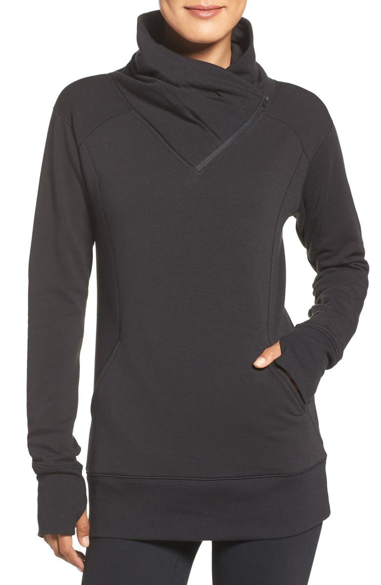 ZELLA Frosty Asymmetrical Zip Pullover, Main, color, 001