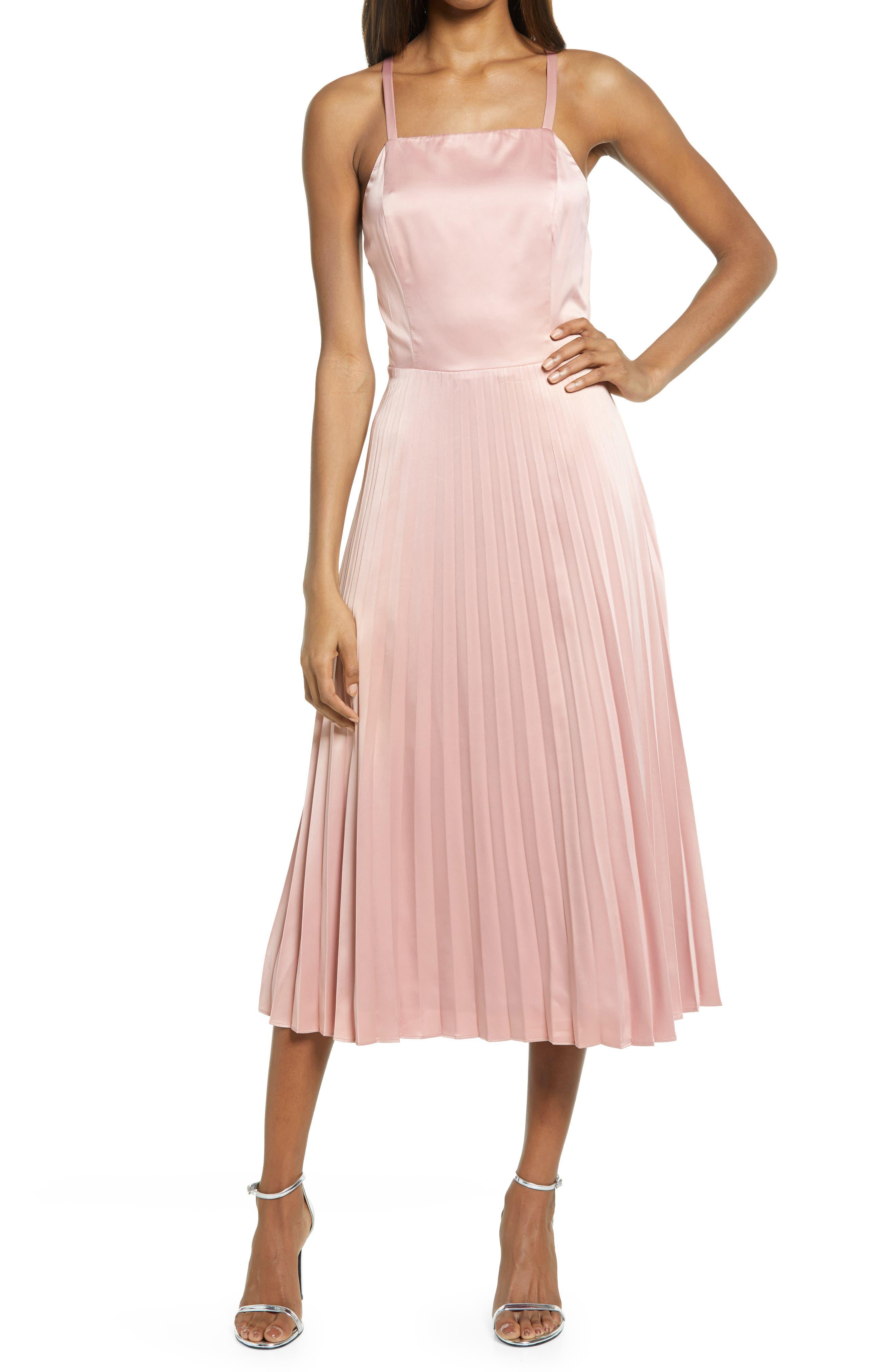 Give Us A Twirl Pleated Satin Midi Dress