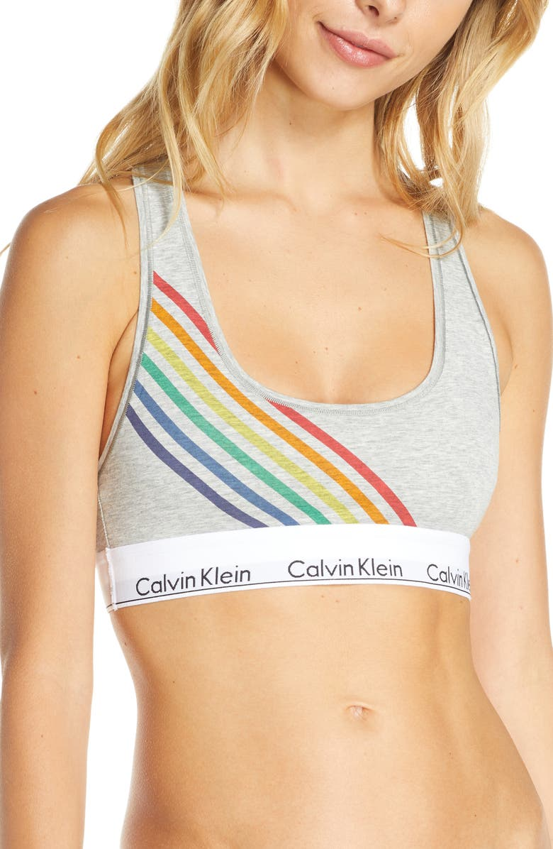CALVIN KLEIN Modern Cotton Pride Edit Bralette, Main, color, 020