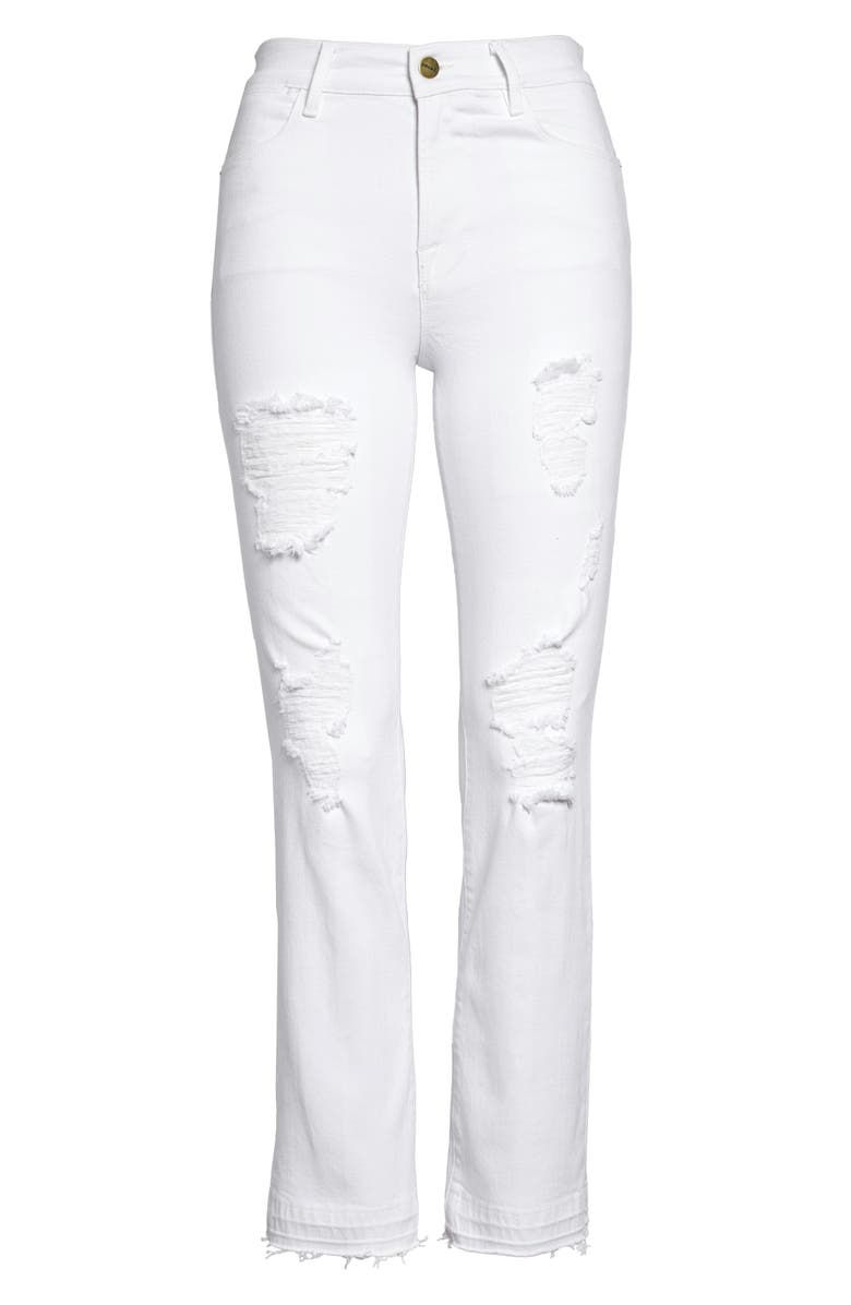 FRAME Le High Ripped Straight Leg Jeans, Main, color, 120