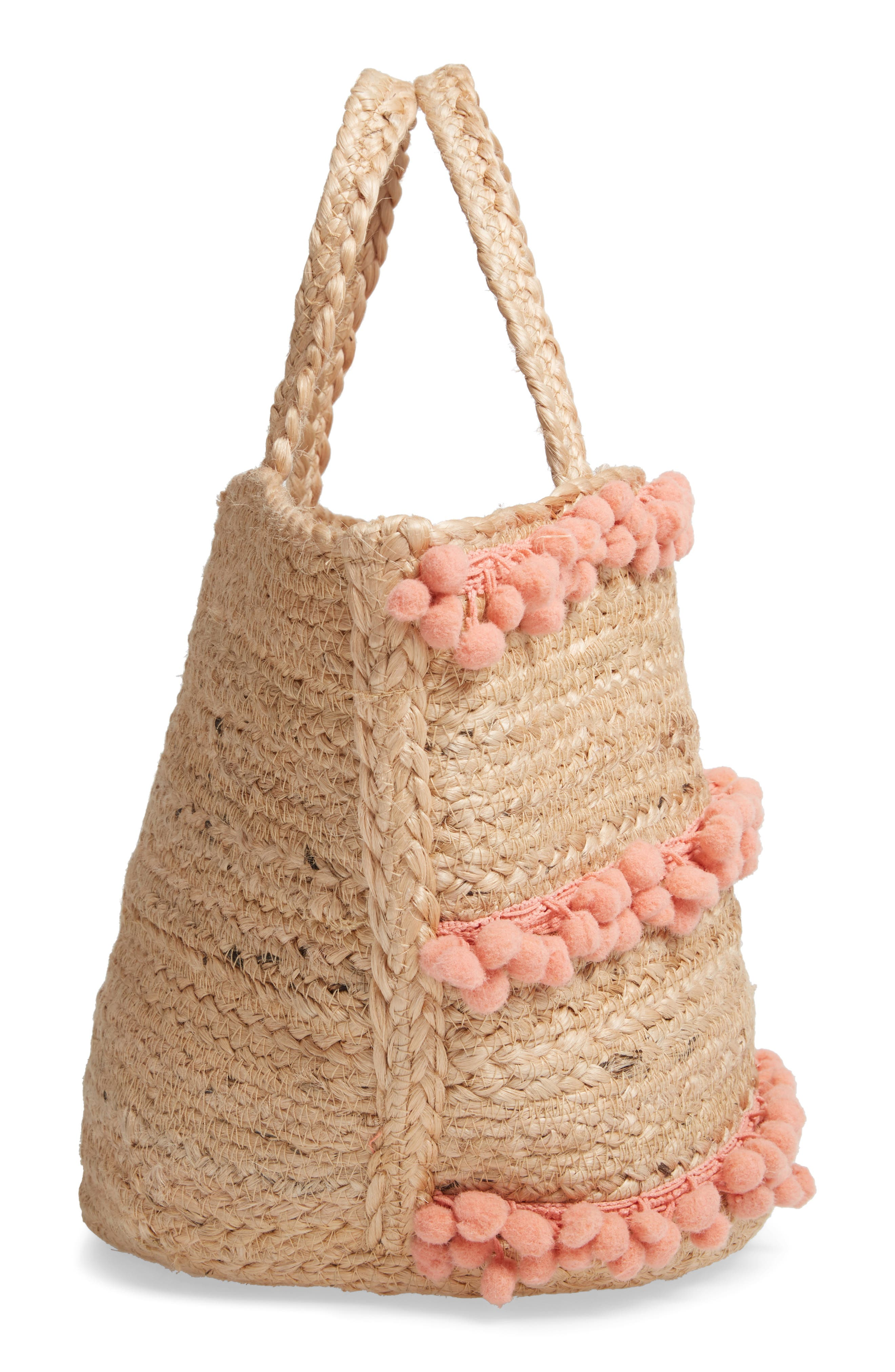 ,                             Aubrey Small Pompom Jute Tote,                             Alternate thumbnail 6, color,                             650