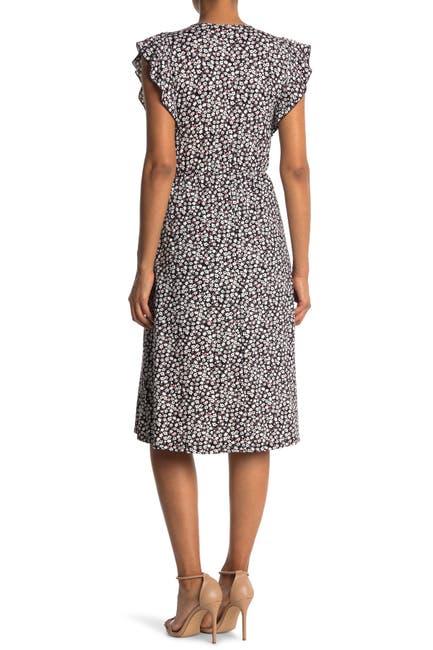 Image of Velvet Torch Ruffle Faux Wrap Knee Dress