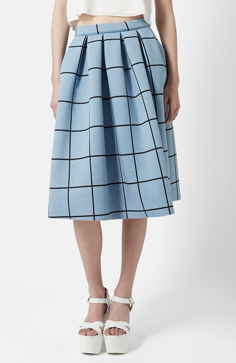 TOPSHOP Windowpane Midi Skirt, Main, color, 450