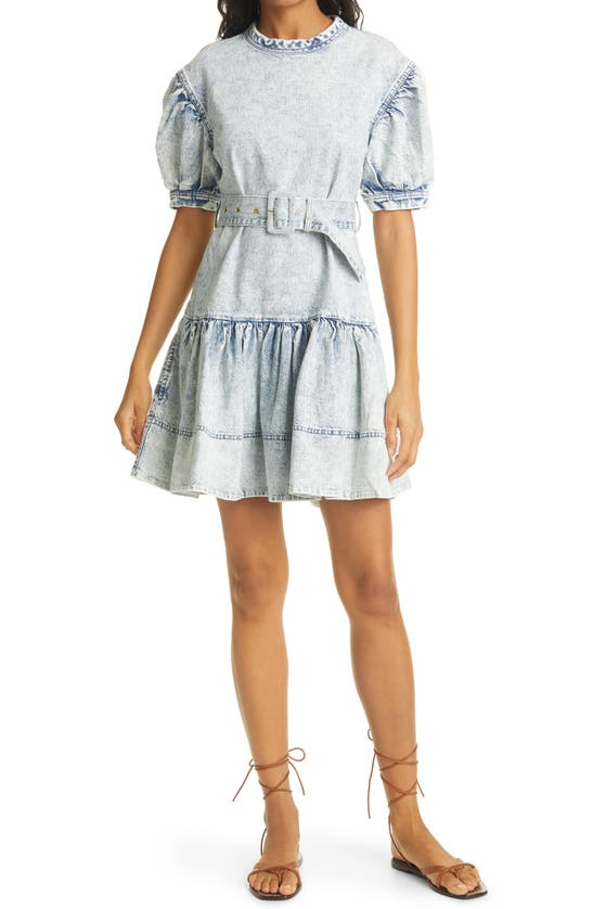 Tanya Taylor Alissa Puff Sleeve Cotton Denim Dress In Pale Blue/pale Pink Over Dye