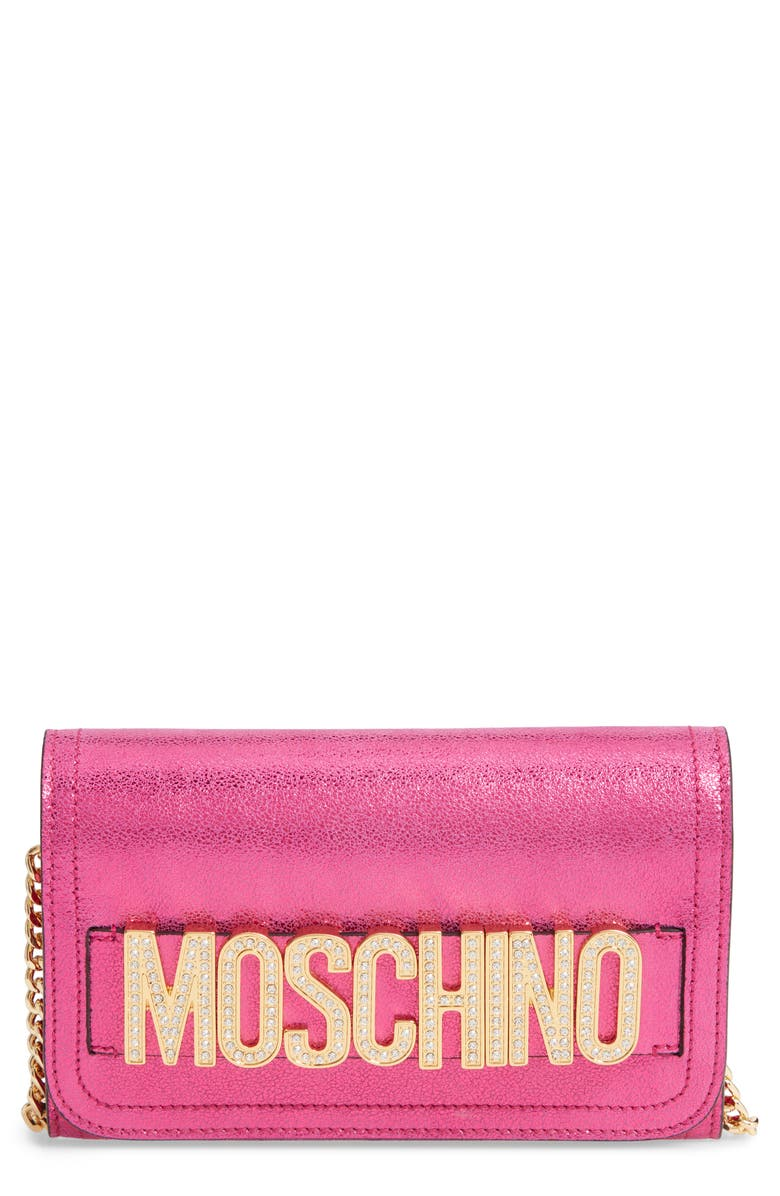 MOSCHINO Logo Leather Wallet on a Chain, Main, color, 650
