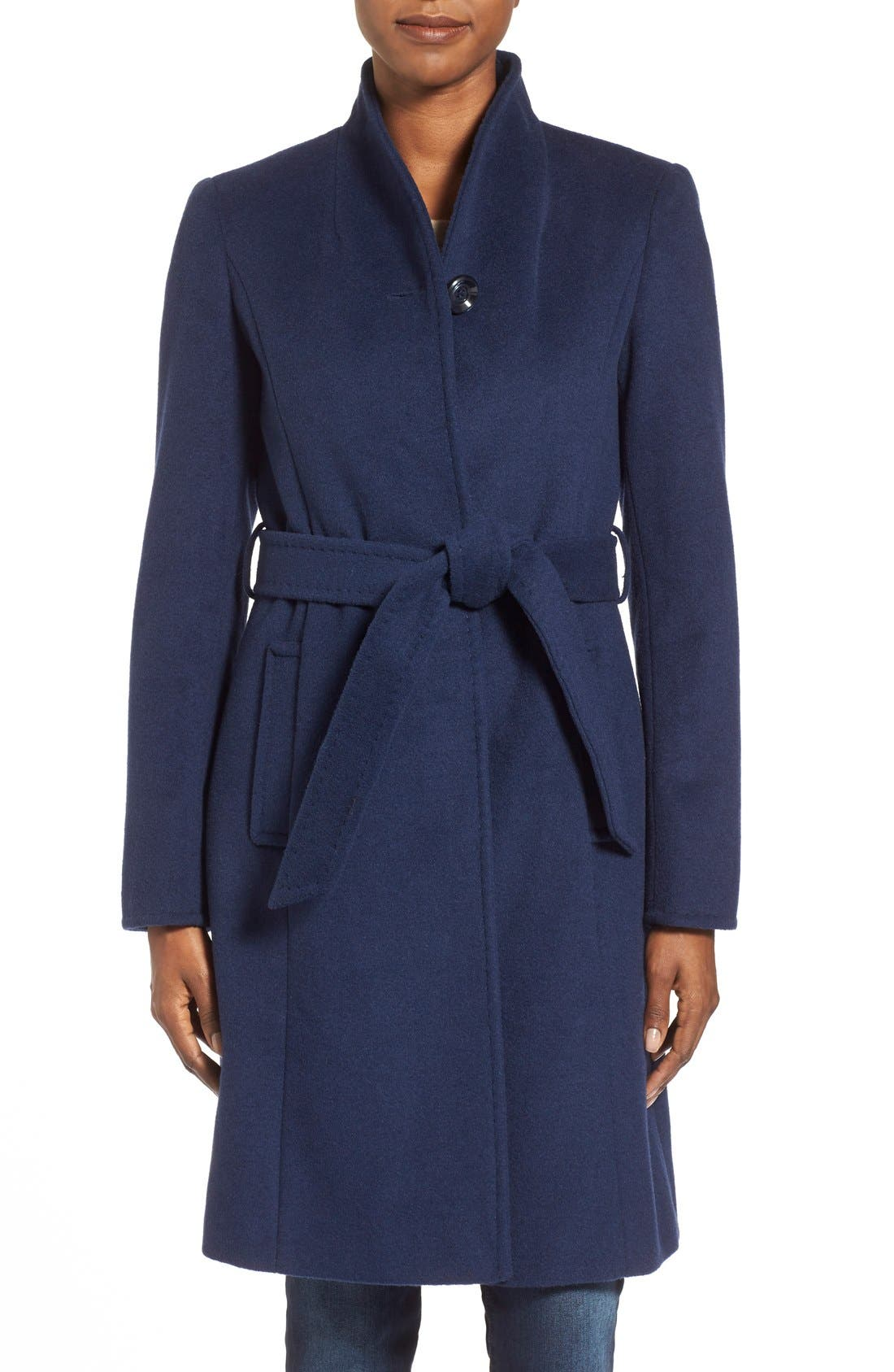 ,                             Belted Wool Blend Stand CollarCoat,                             Main thumbnail 1, color,                             402