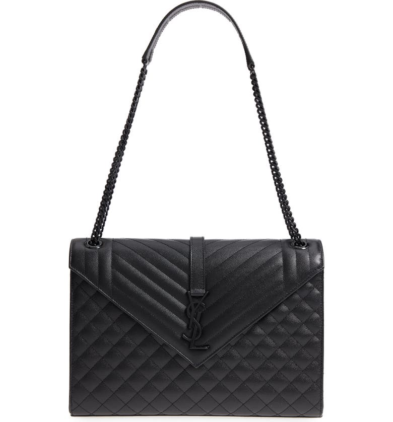 SAINT LAURENT Large Envelope Calfskin Shoulder Bag, Main, color, NERO/ NERO/ NERO