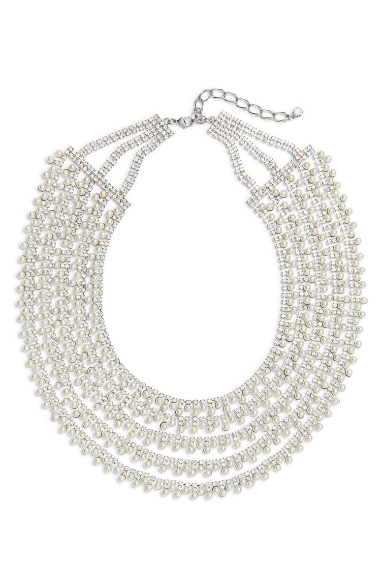 CRISTABELLE Crystal & Imitation Pearl Multistrand Collar Necklace, Main, color, PEARL