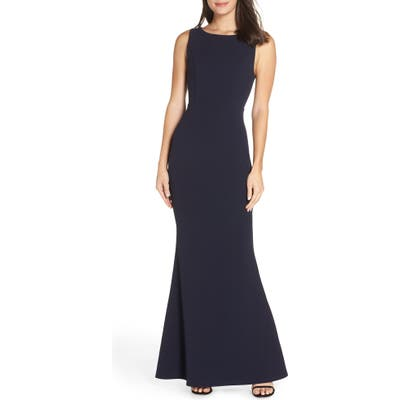 Lulus Mine Backless Trumpet Gown, Blue