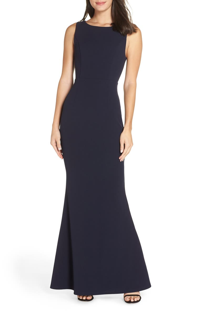 LULUS Mine Backless Trumpet Gown, Main, color, NAVY