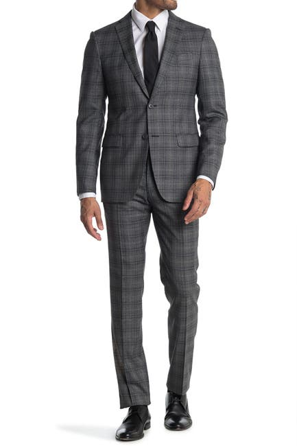 Image of John Varvatos Collection Nested Grey Plaid Two Button Notch Lapel Wool Suit