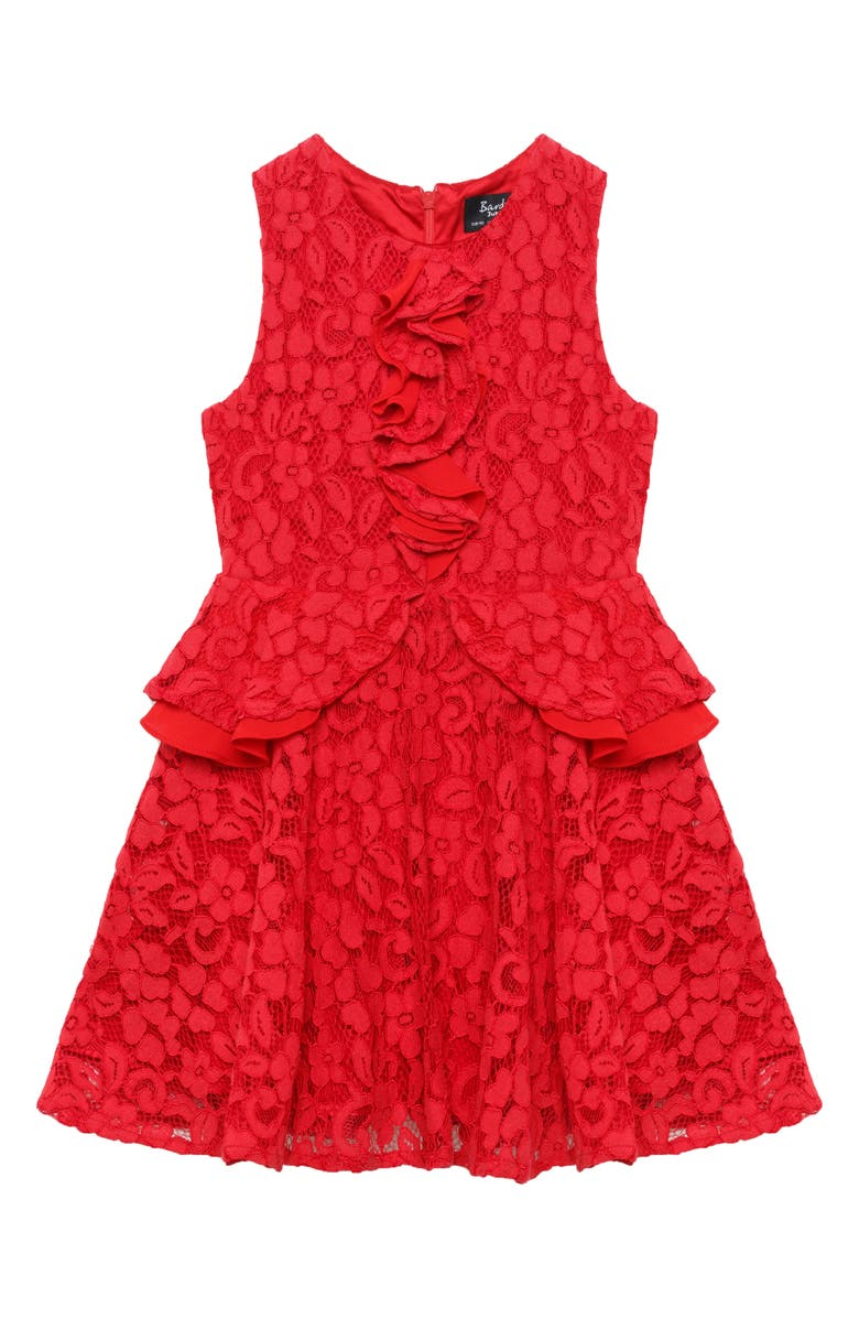BARDOT JUNIOR Bardot Ingrid Ruffle & Lace Dress, Main, color, LOLLIPOP