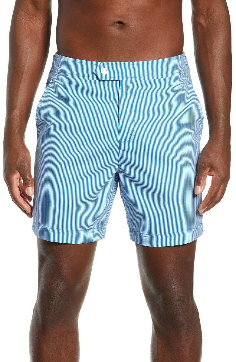 TED BAKER LONDON Seel Stripe Swim Trunks, Main, color, BLUE