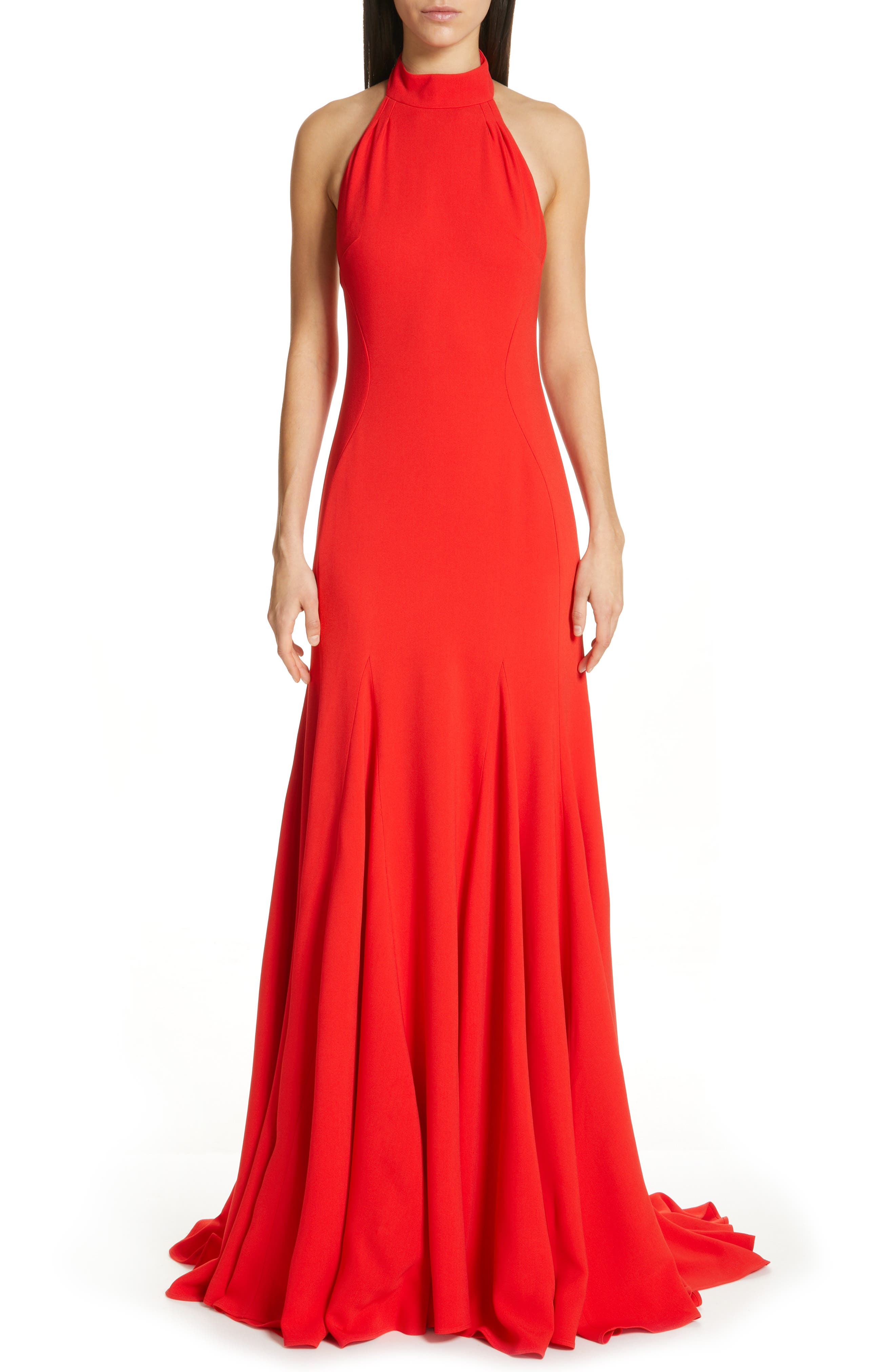 Stella Mccartney Magnolia Halter Trumpet Gown, 48 IT - Red