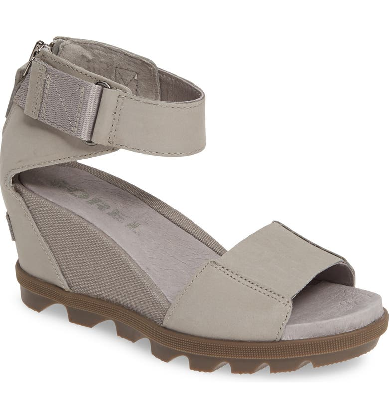SOREL Joanie II Ankle Strap Wedge Sandal, Main, color, DOVE