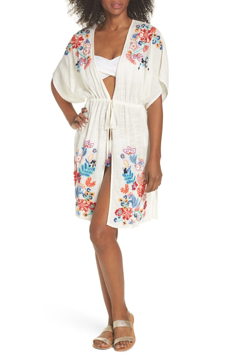 ECHO Wildflower Cover-Up Tunic, Main, color, WHITE