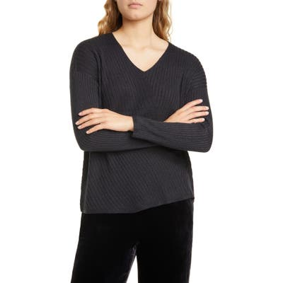 Eileen Fisher Ribbed V-Neck Top, Grey