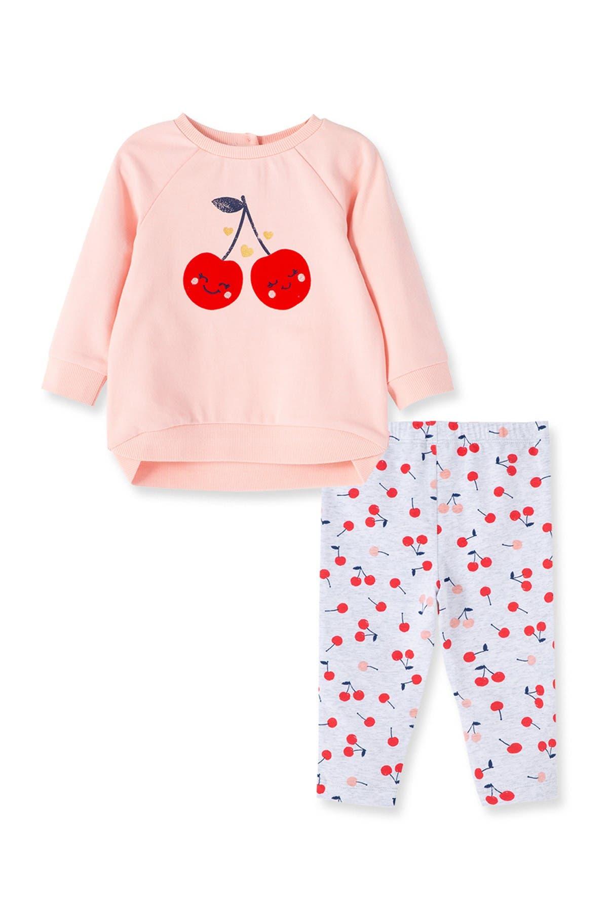 Image of Little Me Cherry 2 Piece Sweatshirt Set