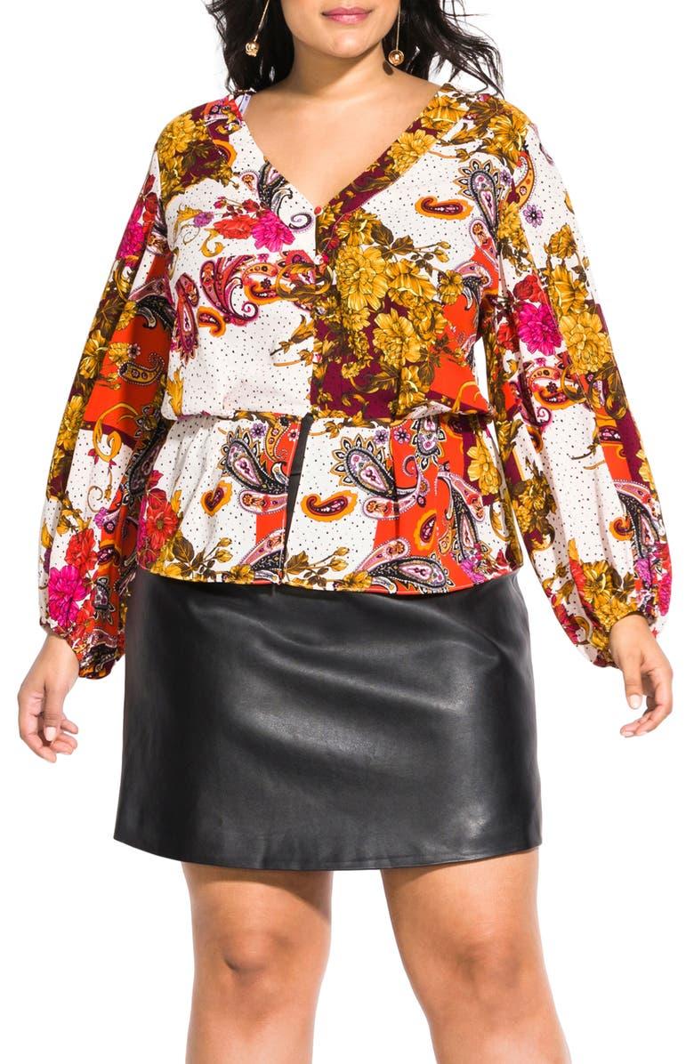 CITY CHIC Opulence Floral & Paisley Split Long Sleeve Top, Main, color, 109